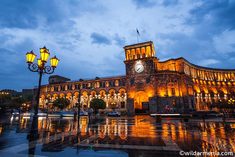 Yerevan republic square after the rain