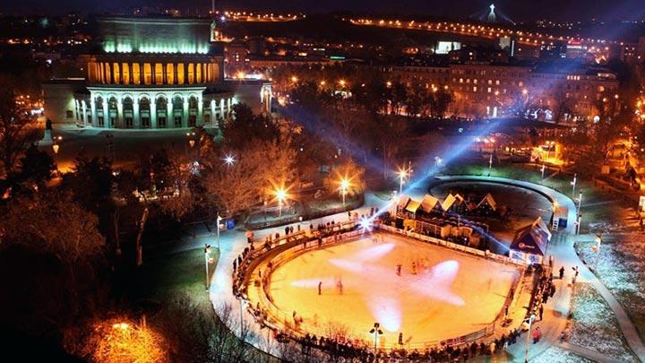 Ice skating on Swan Lake