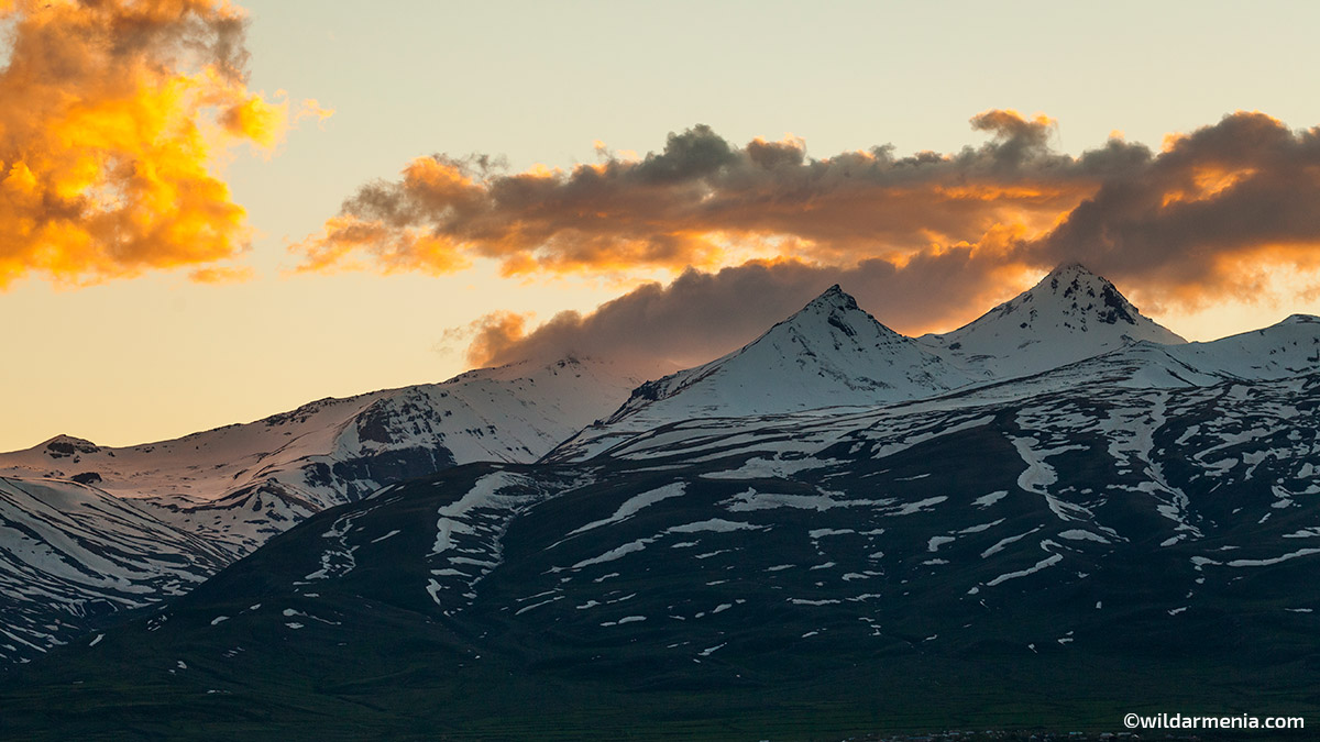 View of Mount Aragats in the evening