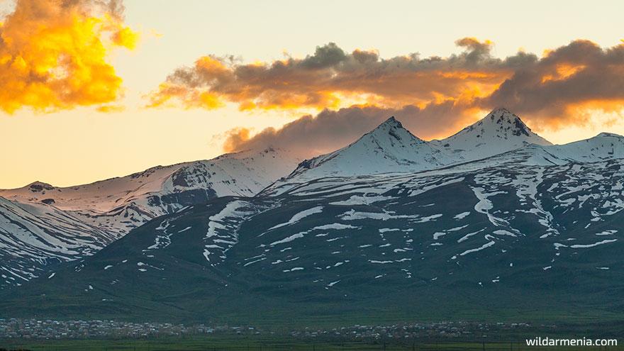 Sunset of Mount Aragats