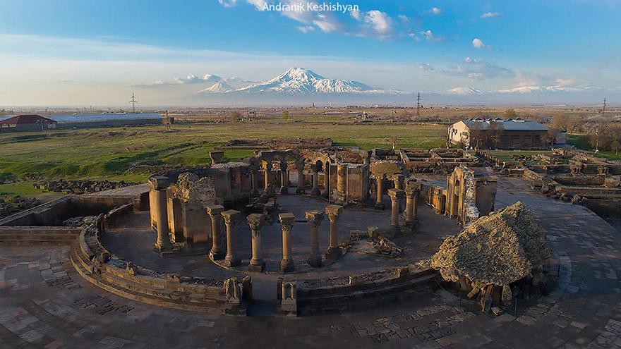 Zvartnots Catherdal. UNESCO site in Armenia