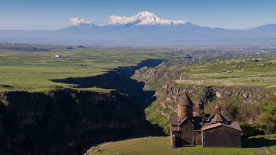 Saghmosavank Monastery and Ararat Mountain