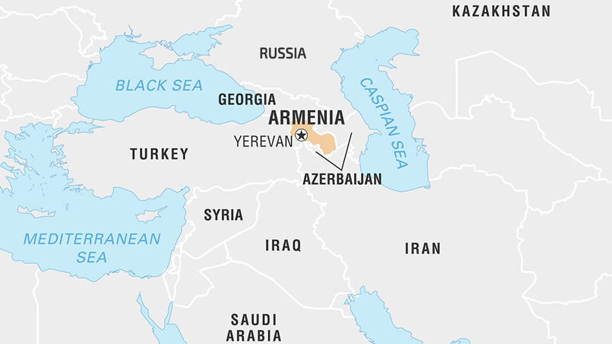 Map of Armenia and surrounding countries