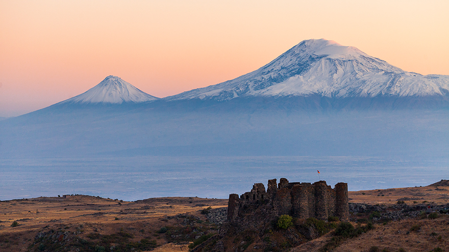 Mount Ararat with Amberd Fortress