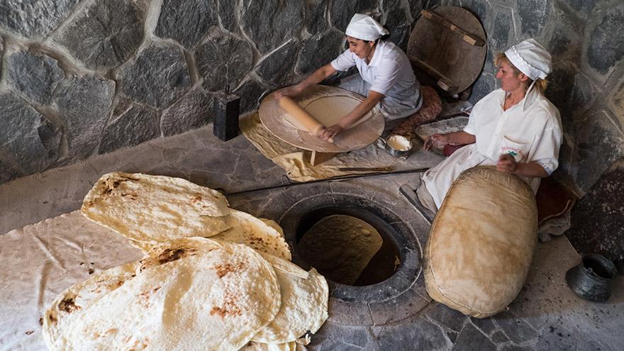 Baking of Armenian flatbread