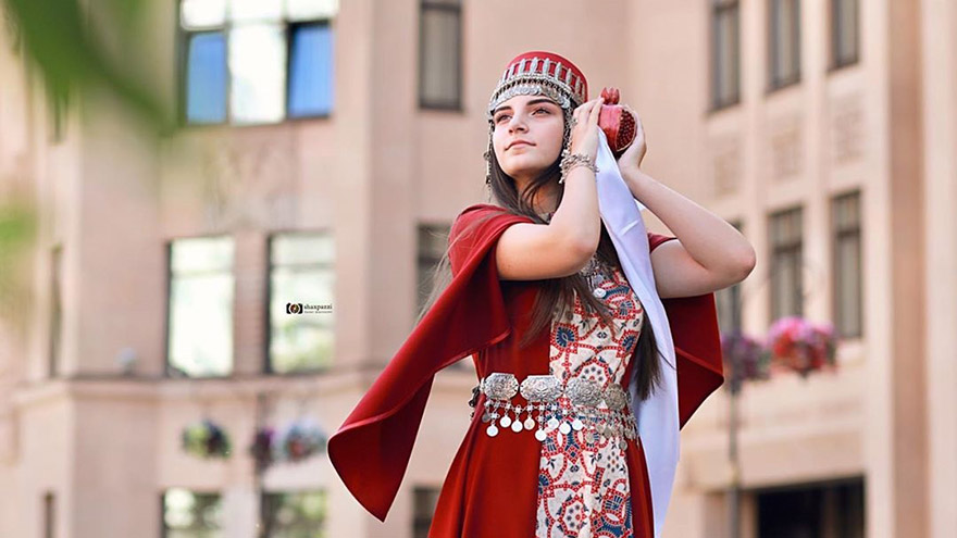 Armenian woman in traditional taraz dress