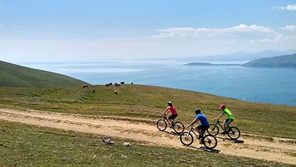 Mountain Biking above Lake Sevan