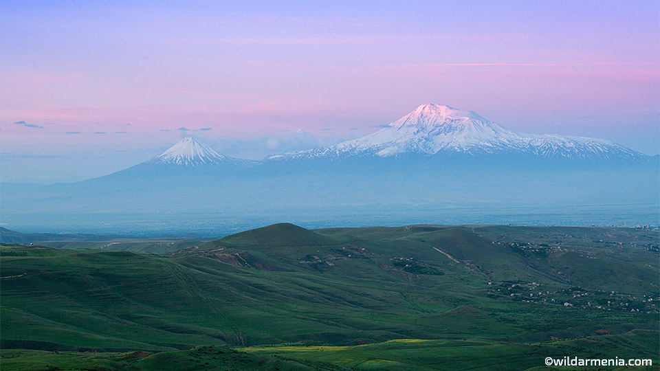 Mount Ararat from Charents arch at sunrise